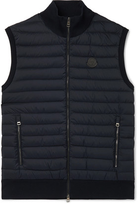 Moncler Leather-Trimmed Panelled Cotton-Blend and Quilted Shell Down Gilet - Men - Blue