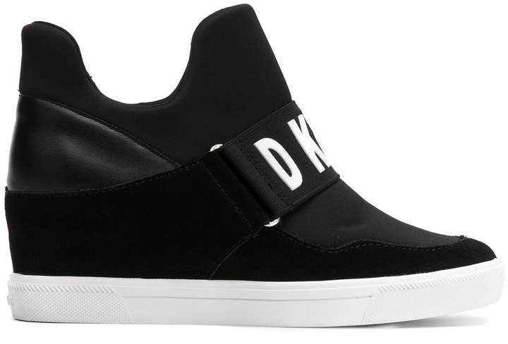 Logo Strap Wedged Sneakers by Dkny
