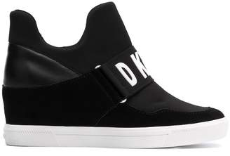 DKNY logo strap wedged sneakers