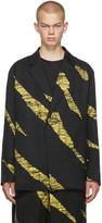 Issey Miyake Men Yellow and Black Wind Print Single-Button Blazer