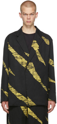 Issey Miyake Yellow and Black Wind Print Single-Button Blazer
