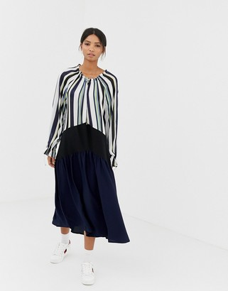 GHOSPELL oversized midi dress with pleated skirt in colour block stripe-Navy