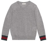 Gucci Boy's Stripe Cuff V-Neck Merino Wool Sweater