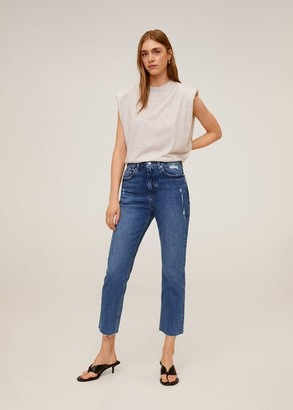 MANGO Straight crop jeans
