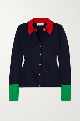 Wales Bonner Goto Color-block Ribbed-knit Cardigan - Navy