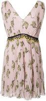 Giamba pleated deep V-neck dress - women - Polyester/Cotton/Viscose - 42
