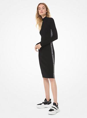 Michael Kors Logo Tape Ribbed Knit Zip Dress