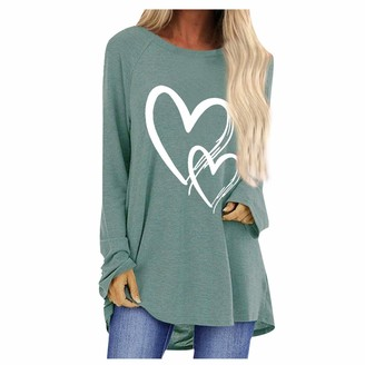BUKINIE Women's Casual Long Sleeve Love Heart Graphic Tee Tops Comfy Crewneck Holiday Tunic Tops T Shirts Plus Size(Grey 4X-Large)