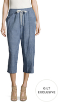 Lucca Couture Stripe Cotton Drawstring Cropped Pant