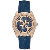 GUESS GUESS? W0627L3 Denim Strap Rose Gold Stainless Steel Case Women's Watch