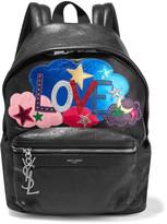 Saint Laurent City Appliquéd Leather Backpack - Black