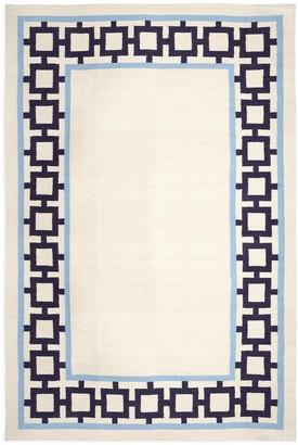 Jonathan Adler Navy/Light Blue Nixon Border Reversible Peruvian Flat Weave Rug