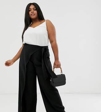 Outrageous Fortune Plus split leg wrap pants in black