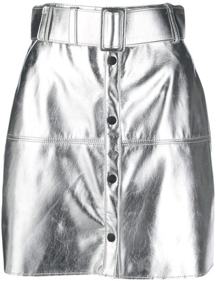MSGM Metallic Belted Mini Skirt