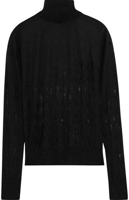 Nina Ricci Distressed Cable-knit Turtleneck Sweater