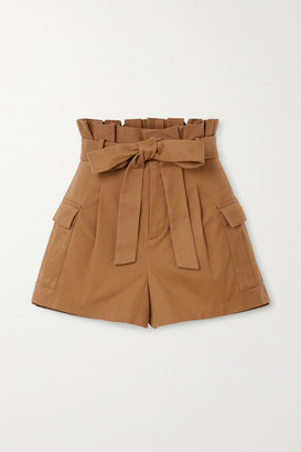 Alice + Olivia Laurine Belted Cotton-blend Twill Shorts