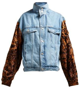 Martine Rose Leopard-sleeve Denim Jacket - Womens - Blue Multi