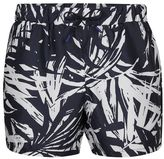 Topman Navy Leaf Print Swim Shorts