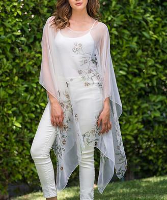 Biz Enterprises Women's Kimono Cardigans CREAM - Cream Floral Sheer Handkerchief Poncho - Women