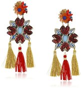Mercedes Salazar Statement Blue/Red Floral and Tassel Clip-On Earrings