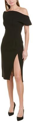 Oscar de la Renta Off-The-Shoulder Wool-Blend Midi Dress