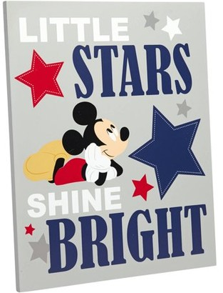 Disney Mickey Mouse Reach for the Stars Grey MDF Wall Art, 10 x 12