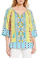 Ruby Rd. 3/4 Sleeve Placement Print Peasant Blouse