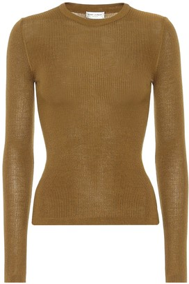 Saint Laurent Ribbed-knit cashmere-blend top