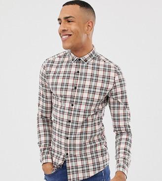 Asos DESIGN Tall skinny fit check shirt in ecru