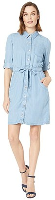 Calvin Klein Button Front Elastic Waist Denim Dress (Light Wash Denim) Women's Dress