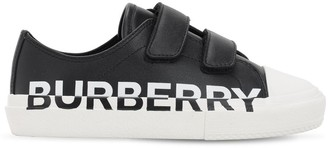 Burberry Logo Print Leather Sneakers W/ Straps