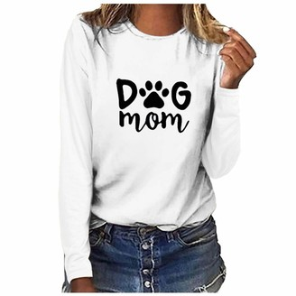 LOPILY Dog Mom Letter PrintSweatshirt Crew Neck Long Sleeve Pullover Tops Plus Size Stylish Jumpers Blouse for Women(White 12 UK/XL CN)