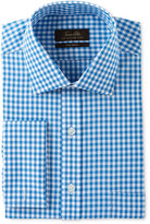 Tasso Elba Men's Classic/Regular Fit Non-Iron Aqua Herringbone Gingham French Cuff Dress Shirt, Only at Macy's