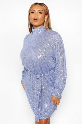 boohoo Plus Sequin High Neck Belted Shift Dress