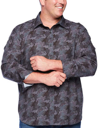 SOCIETY OF THREADS Society Of Threads Big and Tall Comfort Stretch Mens Long Sleeve Camouflage Button-Front Shirt