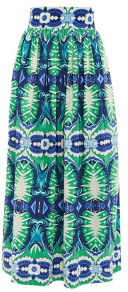 Le Sirenuse, Positano - Jane Fish Tail-print Cotton-poplin Midi Skirt - Green Print