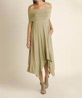 Blu Heaven Sage Off-Shoulder Handkerchief Dress