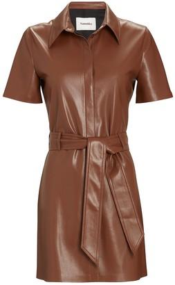 Nanushka Halli Vegan Leather Shirt Dress
