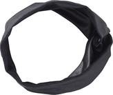 Elle Twisted Black Leather Head Wrap