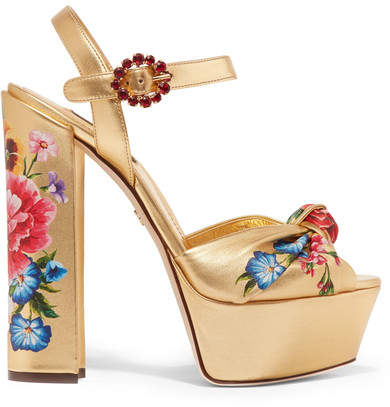Dolce & Gabbana Knotted Crystal-embellished Floral-print Metallic Leather Platform Sandals - Gold
