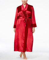 Thalia Sodi Plus Size Satin Velour-Trimmed Long Robe, Only at Macy's