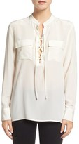 Madewell Women's 'Monroe' Lace-Up Silk Blouse