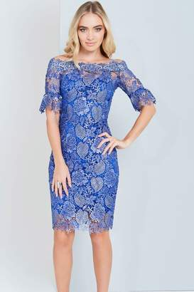 Paper Dolls Metallic Blue Crochet Lace Dress
