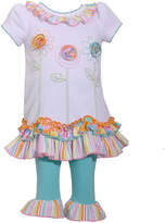 Bonnie Jean 2-pc Short Sleeve Flowers Ruffle Pant Set Baby Girls