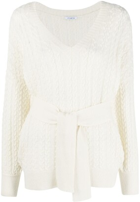 Malo Cable-Knit Belted Jumper
