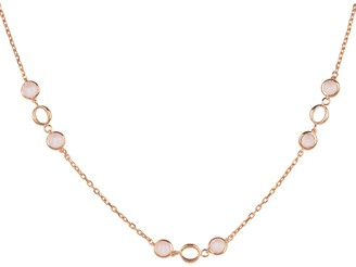 Latelita Milan Link Gemstone Necklace Rose Gold Rose Quartz