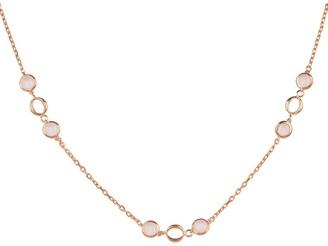 Milan Link Gemstone Necklace Rose Gold Rose Quartz
