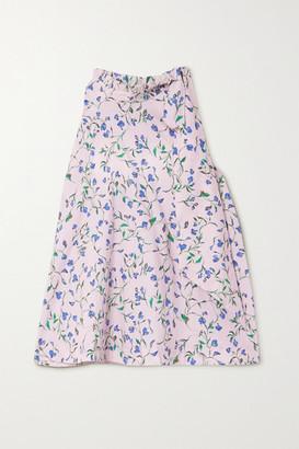 SEREN Toni Tie-neck Floral-print Organic Cotton-poplin Top - Baby pink
