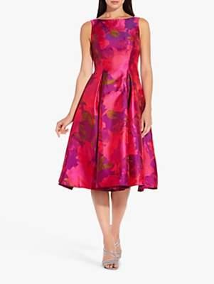 Adrianna Papell Floral Tea Dress, Magenta/Multi