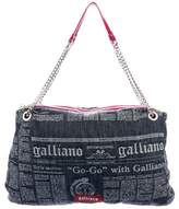 Galliano Newspaper Print Denim Tote